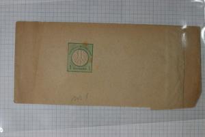 Germany Postal newspaper magazine wrapper 1873 hg#1 1kr kreuzer green mint DC
