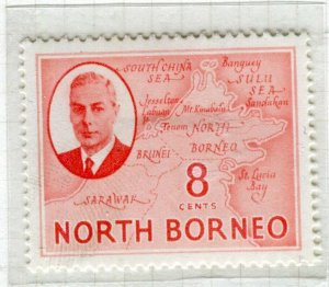 NORTH BORNEO; 1950 early GVI issue fine Mint hinged 8c. value