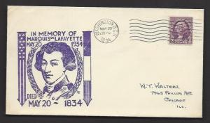USA 1934 100th Anniversary of the Death of MARQUIS DE LAFAYETTE Cachet Cover