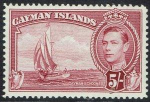 CAYMAN ISLANDS 1938 KGVI YACHT 5/- MNH **