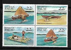PALAU, 70A, MNH, SS, BLOCK OF 4, CANOES