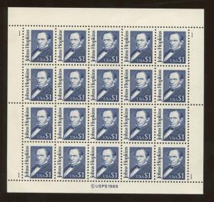 Full Sheet of 20 American Johns Hopkins $1 US Stamps #2194b Brookman Price $160
