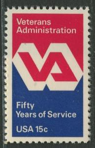 USA - Scott 1825 - Veterans Admin Emblem -1980- MNH - Single 15c Stamp