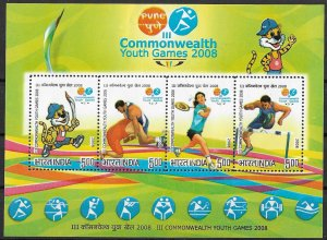 India MNH S/S Commonwealth Youth Games 2008