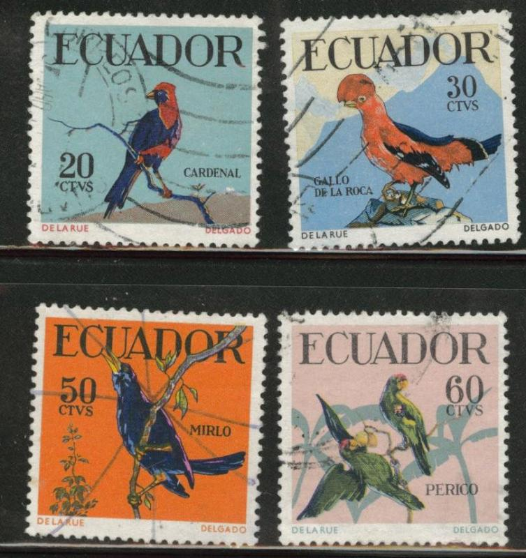 Ecuador Scott 645-648 used 1958  Bird stamp set