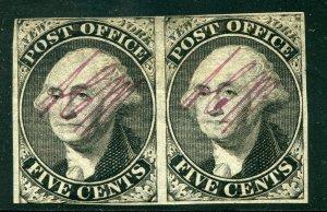 US SCOTT #9x1 Var, Mint Horiz. Pair W/ Large Part OG PF Cert