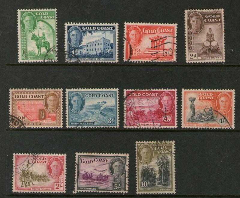 Gold Coast 1948 KGVI SG 135-141,143-146 FU