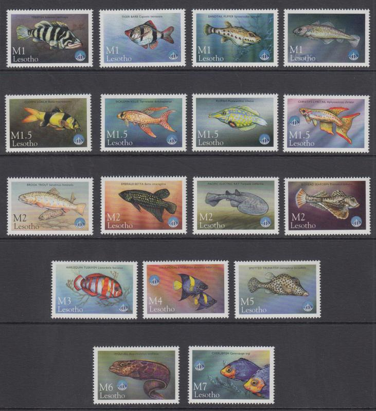 Lesotho Sc 1125-1141 MNH. 1998 International Year of the Ocean cplt. perf fault