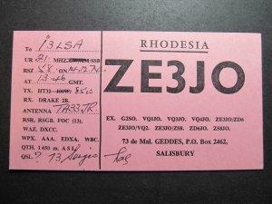 10031 Amateur Radio QSL Card SALISBURY RHODESIA