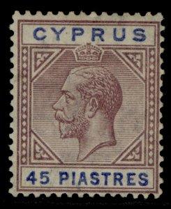 CYPRUS GV SG99, 45pi dull purple & ultramarine, M MINT. Cat £275. WMK SCRIPT