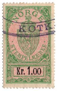 (I.B) Norway Revenue : Stempelmaerke 1Kr