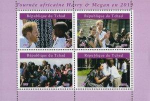 Chad 2019 Prince Harry and Megan 4v Mint Souvenir Sheet S/S. (#120)