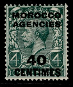 MOROCCO AGENCIES GV SG206, 40c on 4d grey-green, M MINT.