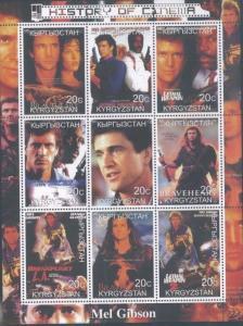 MEL GIBSON History of Cinema Souvenir Sheet MNH from Kyrgyzstan - E80