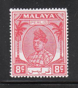 Malaya Perlis 1951 Sc 12 8c red MNH