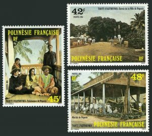Fr Polynesia 414-416,MNH.Michel 425-427. Early Tahiti,1985.Girls,Papeete market.