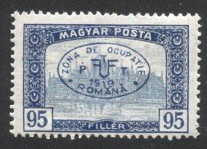 HUNGARY 1919 95f dk blue & blue, Sc 2N57A Romanian Occupation, cv $125, MLH
