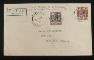 1930 St George Grenada First Flight Cover FFC To Trinidad Via NYRBA Line