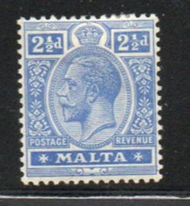Malta Sc 70 1921 2 1/2d ultramarine George V stamp mint