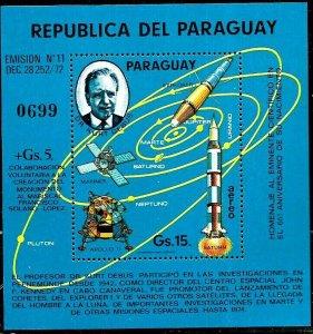 PARAGUAY 1975 SPACE ROCKETS SATELITS CIENTIFIC PROF DEBUS S/S Mi BL 241 MNH