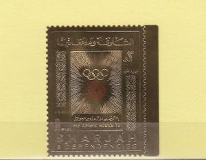 Sharjah, Mi cat. 851 A. Munich Olympics GOLD FOIL issue.