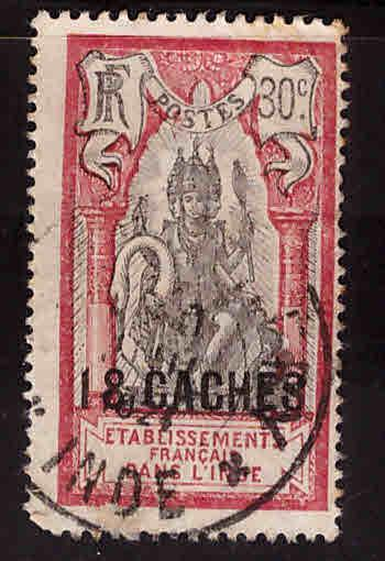 FRENCH INDIA  Scott 64 Used surcharged  Brahma stamp