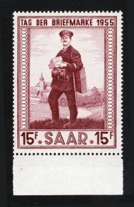 SAAR - 1955 STAMP DAY ILLINGEN POSTMAN SCOTT #256 MNH-OG WITH SELVAGE