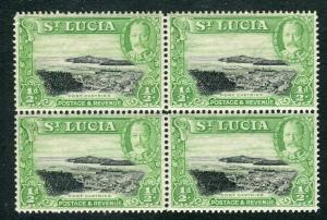 ST. LUCIA; 1936 early GV pictorial issue Mint hinged Block of 1/2d. value