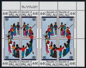 Palau 89a TR imprint Block of 8 MNH International Youth Year, Music