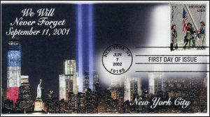 AO-B2-2, 2002, Heroes of 2001, New York City, Add-on Cachet, FDC, 9-11, SC B2