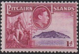 Pitcairn Islands 1940 1d Fletcher Christian, crew and Pitcairn Island MH