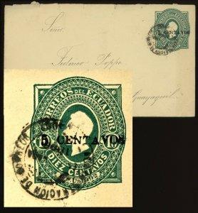 Ecuador 1893, 5c on 10c. Stationery Envelope Cover