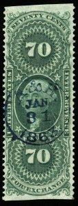 v1 U.S. Revenue Scott #R65b 70c Foreign Exchange part perf, handstamp, CV = $200