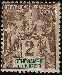 Senegambia & Niger #2 Mint OG F-VF hr...Fill out your French Colony spaces!