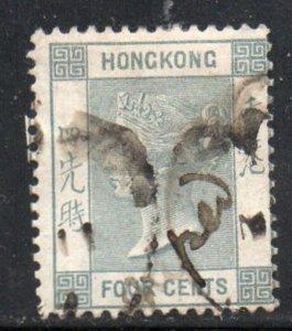 Hong Kong Sc 38 1896 4 c slate Victoria stamp used