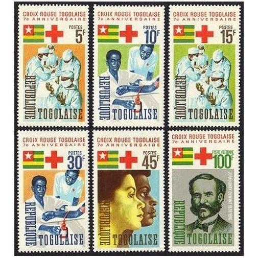 Togo 553-557,C51,MNH.Michel 507-512. Togolese Red Cross,1966.Jean Henry Dunant.