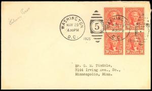 590, 9c BLOCK ON FIRST DAY COVER - XF GEM