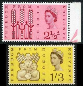 SG634/5p 1963 Freedom From Hunger Phosphor Set U/M