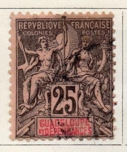 Guadeloupe 1892 Early Issue Fine Used 25c. Optd 077251