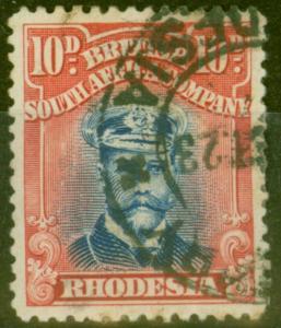 Rhodesia 1919 10d Blue & Red SG270 Die III Good Used