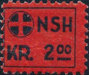 Stamp Label Norway Revenue WWII NSH Nasjonal Samling National Rally 2.00 MNH