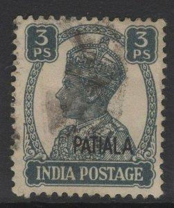INDIA-PATIALA SG103 1942 3p SLATE USED