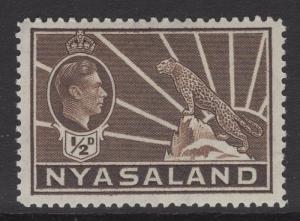 NYASALAND SG130a 1942 ½d BROWN MTD MINT