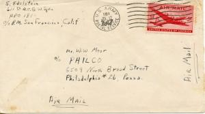 US Scott C32 on 1947 Cover from APO 181 Tokyo, Japan