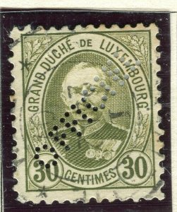 LUXEMBOURG; 1899 early Adolf OFFICIAL PERFIN issue fine used 30c.
