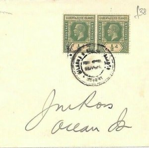 GILBERT & ELLICE ISLANDS Postmark *Vaitupu*1d Rate Cover Ocean Island 1938 GJ182