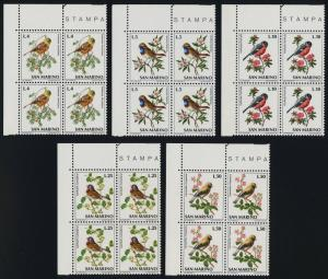 San Marino 777-86 TL Blocks MNH Birds, Flowers