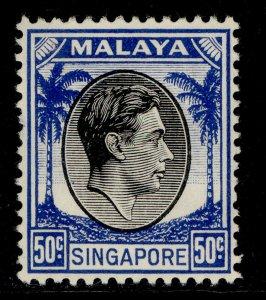SINGAPORE GVI SG12, 50c black & blue, M MINT. Cat £14.