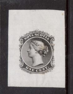 Nova Scotia #8DP XF Large Die Proof On India Paper W\ Incomplete Shading At Left
