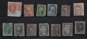 Faulty US Stamps # 1, 11, 24, 35, 37, 65, 68, 69, 70, 73, 77,93,97, Major Faults